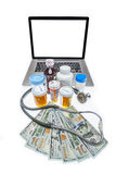 Cost of healthcare. Health care costs illustrated by drugs and doctors with blank screen for type insertion Stock Image