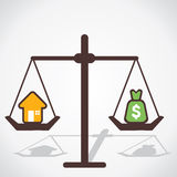 Cost of house. Is equal to you save money Royalty Free Stock Image