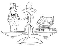 Cost of labor. Black and white illustration: money and worker in scales Royalty Free Stock Images