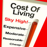 Cost Of Living Expenses Sky High. Monitor Showing Increasing Cost Stock Image