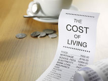 The Cost of Living on a Paper Printout Royalty Free Stock Photos