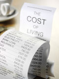 Cost of Living on a Printout Royalty Free Stock Image