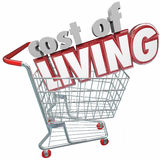 Cost of Living Shopping Cart Words Higher Price Goods Products Stock Images