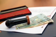 The cost of notary services stock image