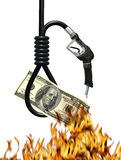 Cost of Oil Metaphor. Noose, gas nozzle, money and fire metaphor symbolizing the cost of oil Royalty Free Stock Image