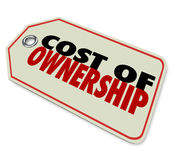 Cost of Ownership Price Tag Good Value Investment ROI. Cost of Ownership words on a price tag to illustrate the true investment in a product such as a car with Royalty Free Stock Image