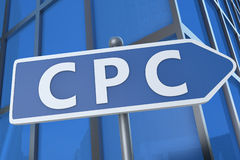 Cost per Click. CPC - Cost per Click - illustration with street sign in front of office building stock image