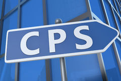 Cost per Sale. CPS - Cost per Sale - illustration with street sign in front of office building Stock Photography