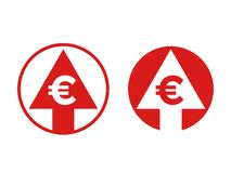 Cost price euro increase exchange index icon vector illustration