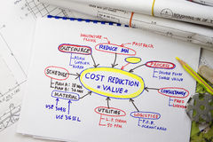 Cost reduction. Abstract with engineering tools and drawing Royalty Free Stock Image