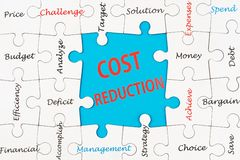 Cost reduction concept stock image