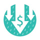 Cost reduction icon. Vector image isolated on white background. Arrows down symbol for bankrupt, crisis or finance decreasing concept. Business economic Royalty Free Stock Images