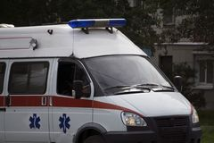 The cost of the services of an ambulance with flashing lights.  Royalty Free Stock Photography