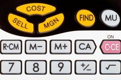 Cost, sälj, margin tangenter av den finansiella räknemaskinen Fotografering för Bildbyråer