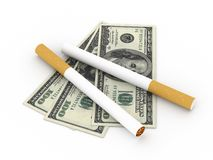 Cost of smoking. Two cigarettes and 100 dollar bills isolated on white background. High quality 3d render stock illustration
