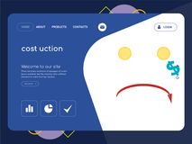 Cost uction Landing page website template design. Quality One Page cost uction Website Template Vector Eps, Modern Web Design with flat UI elements and landscape Stock Image