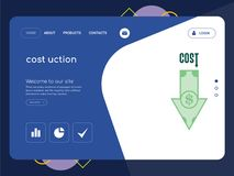 Cost uction Landing page website template design. Quality One Page cost uction Website Template Vector Eps, Modern Web Design with flat UI elements and landscape Royalty Free Stock Photos