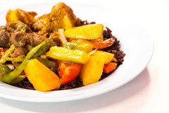 Cost-up Thai food menu is rice berry,Sweet and sour sauce fried stock photos