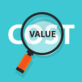 Cost value concept business magnifying word focus on text Stock Images