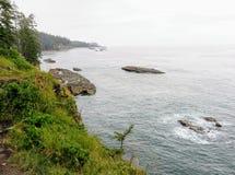 A costa áspera da ilha de Vancôver ao longo da caminhada famosa da fuga da costa oeste, no Columbia Britânica, Canadá fotografia de stock