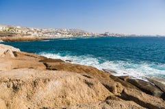 Costa Adeje-Erholungsortküstenlinie, Teneriffa-Insel Stockfotos