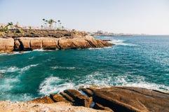 Costa Adeje-Erholungsortküstenlinie, Teneriffa-Insel Stockbilder