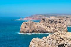 Costa atlântica perto do Sao Vicente do cabo O Algarve, Portugal Imagem de Stock