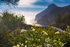 Costa costa azul y verde en la isla de Corfú, Paelokastrica, Grecia imágenes de archivo libres de regalías