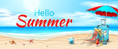 Costa azzurrata della sabbia delle onde della spiaggia della spiaggia di vettore royalty illustrazione gratis