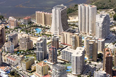 Costa Blanca buildings. Expensive Condominiums perch on the hillsides above the Mediterranean Sea Stock Photo