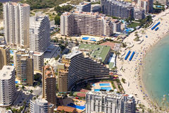 Costa Blanca buildings. Expensive Condominiums perch on the hillsides above the Mediterranean Sea Stock Photos