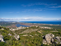 Costa Blanca Overview. Aerial view of the Costa Blanca of Spain, with some rocks on the foreground and the Mediterranean Sea on the background Stock Photography