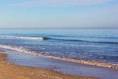 Costa Blanca sandy beach in winter, Valencia region, Spain. Royalty Free Stock Images
