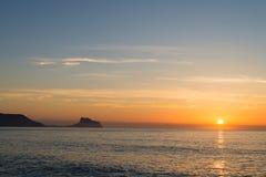 Costa Blanca soluppgånglandskap Arkivfoton