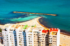 Costa Blanca, Spain. Beach at famous Costa Blanca touristic resort Royalty Free Stock Photo