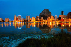 Costa Blanca, Spain. Skyscrapers of Mediterranean summer resort Calpe Royalty Free Stock Images