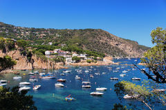 Costa Brava bay and boats Royalty Free Stock Image