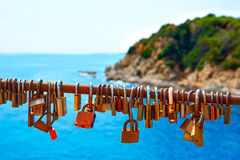 Costa Brava beach Lloret de Mar padlocks in a row Royalty Free Stock Images