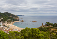 Costa Brava, beach and medieval castle in Tossa de Mar, Cataloni Royalty Free Stock Photos