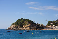 Costa Brava, beach and medieval castle in Tossa de Mar, Cataloni Stock Photo