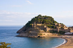 Costa Brava, beach and medieval castle in Tossa de Mar, Cataloni Royalty Free Stock Photography