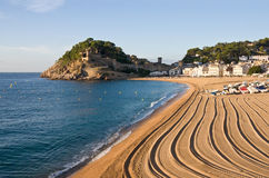 Costa Brava, beach and medieval castle in Tossa de Mar, Cataloni Royalty Free Stock Photo