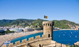 Costa Brava, beach and medieval castle in Tossa de Mar, Cataloni Royalty Free Stock Image