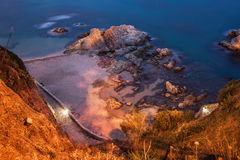 Costa Brava Beach and Sea Shore at Night Royalty Free Stock Photography