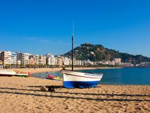 Costa brava, landscape. Fishing boat in the sand typical in Catalonia, Blanes, Girona Royalty Free Stock Photography