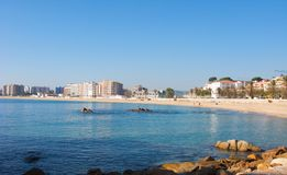 Costa brava, landscape. Fishing boat in the sand typical in Catalonia, Blanes, Girona Stock Image