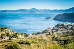 A view of the coast of a small town Cerbère from the country road on a hill Royalty Free Stock Photography
