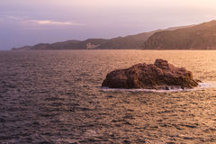 Costa Brava Rock Coast at dusk Stock Photos