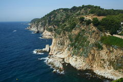 Costa Brava rocks. In Tossa del Mar Stock Photo