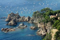 Costa Brava rocks. In Tossa del Mar Royalty Free Stock Image